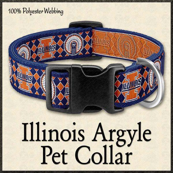 University of Illinois Argyle Pet Collar Product Image No1