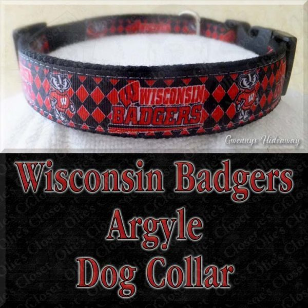 University of Wisconsin Badgers Argyle Designer Dog Collar Product Image No1
