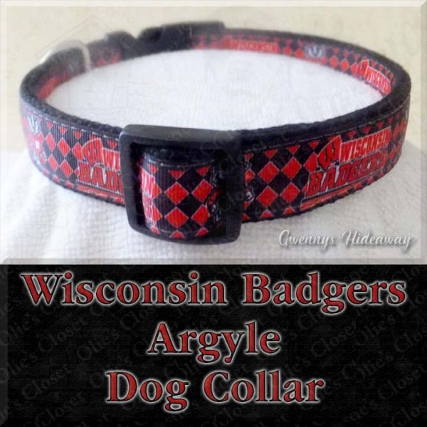 University of Wisconsin Badgers Argyle Designer Dog Collar Product Image No2