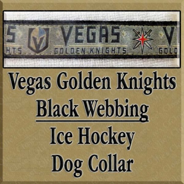 Vegas Golden Knights Black Webbing Dog Collar Product Image No3