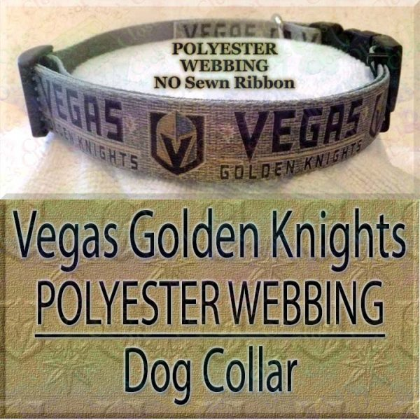Vegas Golden Knights Polyester Webbing NHL Ice Hockey Designer Dog Collar Product Image No3