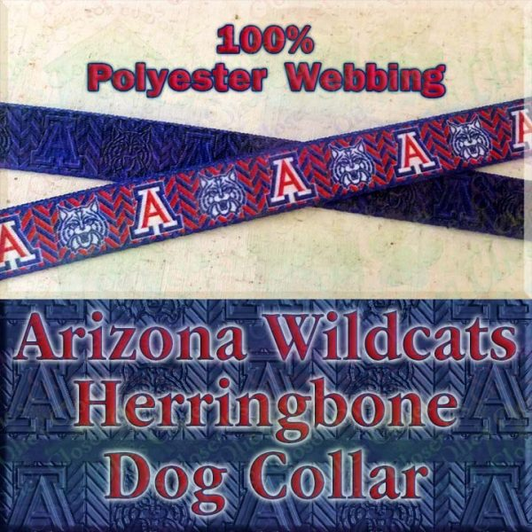 Arizona Wildcats Herringbone Polyester Webbing Designer Dog Collar Product Image No3