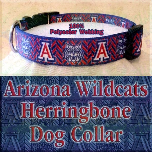 Arizona Wildcats Herringbone Polyester Webbing Designer Dog Collar Product Image No2