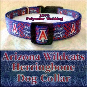 Arizona Wildcats Herringbone Polyester Webbing Designer Dog Collar Product Image No1