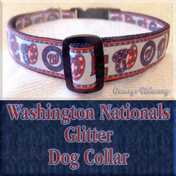 Washington Nationals Baseball GLITTER Designer Dog Collar Product Image No1