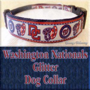 Washington Nationals Baseball GLITTER Designer Dog Collar Product Image No2