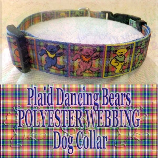Plaid Grateful Dead Dancing Bears Polyester Webbing Designer Dog Collar Product Image No3