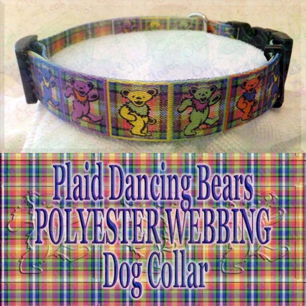 Plaid Grateful Dead Dancing Bears Polyester Webbing Designer Dog Collar Product Image No2
