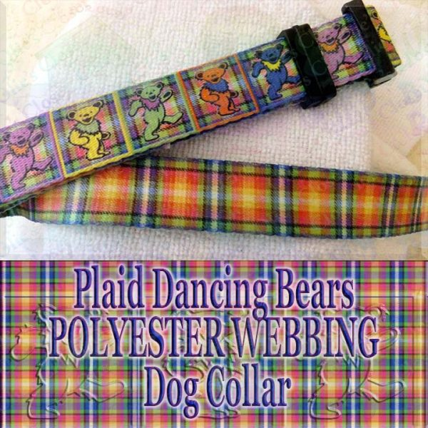 Plaid Grateful Dead Dancing Bears Polyester Webbing Designer Dog Collar Product Image No1