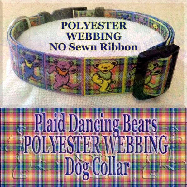 Plaid Grateful Dead Dancing Bears Polyester Webbing Designer Dog Collar Product Image No4