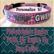Pink Philadelphia Eagles Argyle PERSONALIZED 100% Polyester Webbing Dog Collar Product Image No2