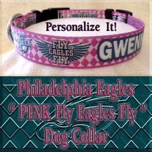Pink Philadelphia Eagles Argyle PERSONALIZED 100% Polyester Webbing Dog Collar Product Image No2