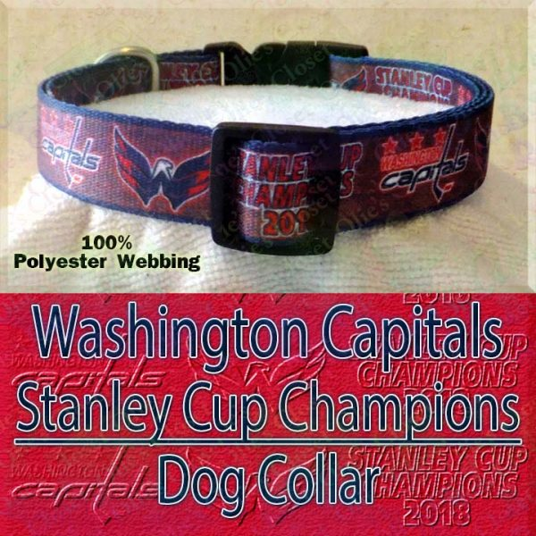 Washington Capitals Stanley Cup Champions 2018 Ice Hockey Polyester Webbing Designer Dog Collar Product Image No2