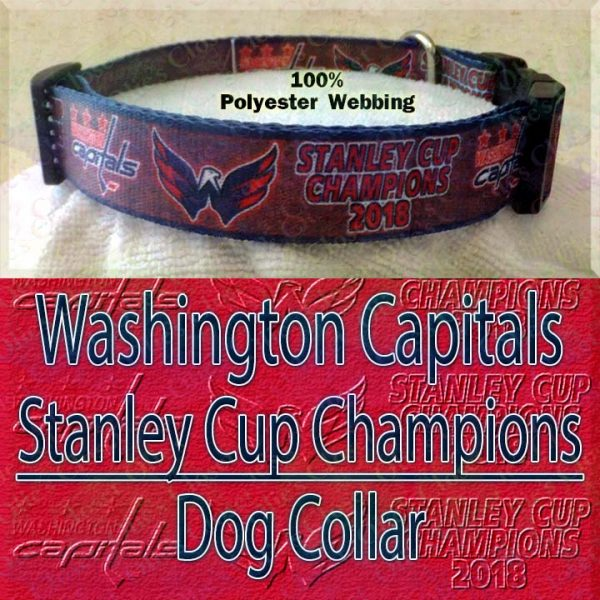 Washington Capitals Stanley Cup Champions 2018 Ice Hockey Polyester Webbing Designer Dog Collar Product Image No3