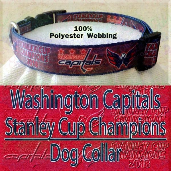 Washington Capitals Stanley Cup Champions 2018 Ice Hockey Polyester Webbing Designer Dog Collar Product Image No4