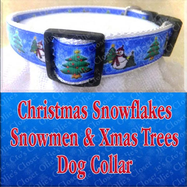 Christmas Snowflakes Snowman Xmas Trees Designer Holiday Dog Collar Product Image No2