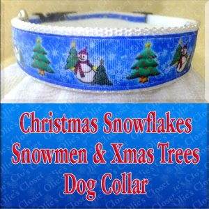 Christmas Snowflakes Snowman Xmas Trees Designer Holiday Dog Collar Product Image No1