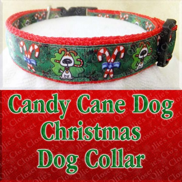 Christmas Candy Cane Dog Holiday Designer Dog Collar Product Image No2