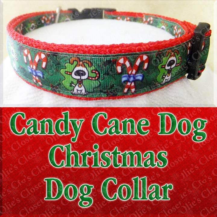 This Candy Cane Dog Holiday Xmas Designer Dog Collar is available on ...