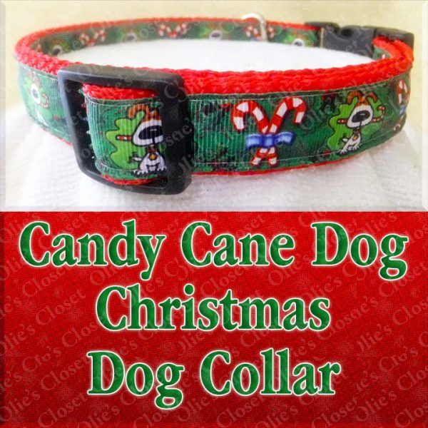 Christmas Candy Cane Dog Holiday Designer Dog Collar Product Image No1