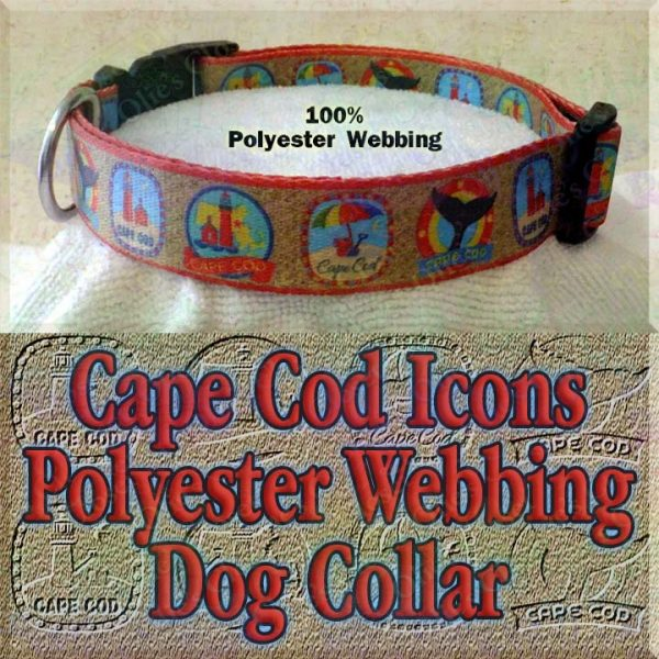 Cape Cod Traditional Icons Lighthouse Whale Tail Beach Pail Umbrella Golden Sand Background Polyester Webbing Designer Dog Collar Product Image No3