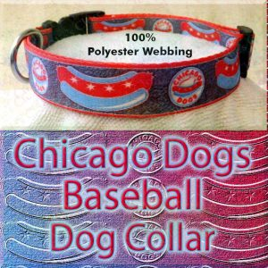 Chicago Dogs Baseball Polyester Webbing Designer Dog Collar Product Image No2