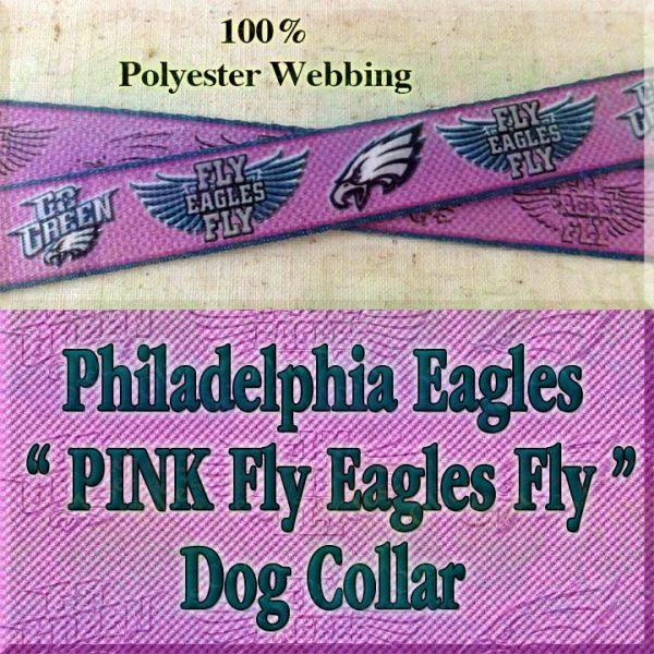 PINK Philadelphia Eagles Fly Eagles Fly Go Green Polyester Webbing Designer Dog Collar Product Image No1