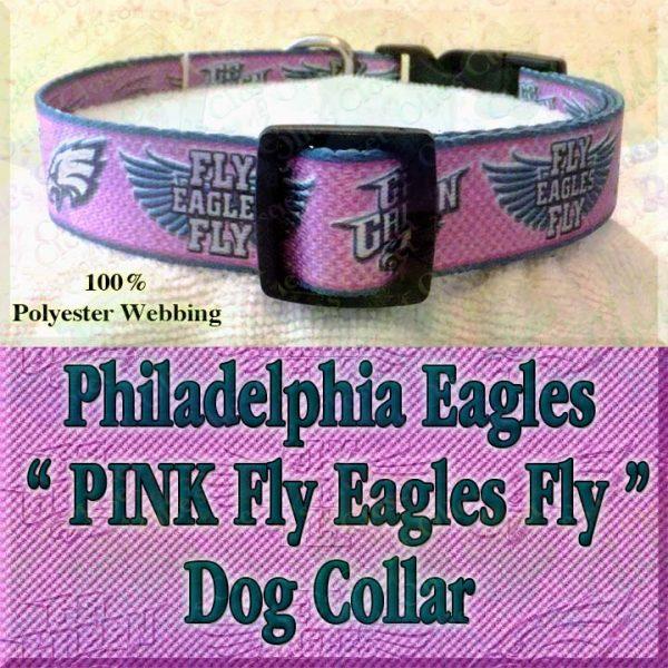 PINK Philadelphia Eagles Fly Eagles Fly Go Green Polyester Webbing Designer Dog Collar Product Image No2