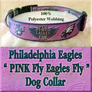 PINK Philadelphia Eagles Fly Eagles Fly Go Green Polyester Webbing Designer Dog Collar Product Image No3
