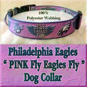 PINK Philadelphia Eagles Fly Eagles Fly Go Green Polyester Webbing Designer Dog Collar Product Image No3