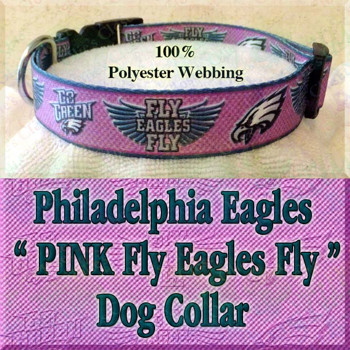 c85eeb497 PINK Philadelphia Eagles Fly Eagles Fly Go Green Polyester Webbing Designer Dog  Collar Product Image No3