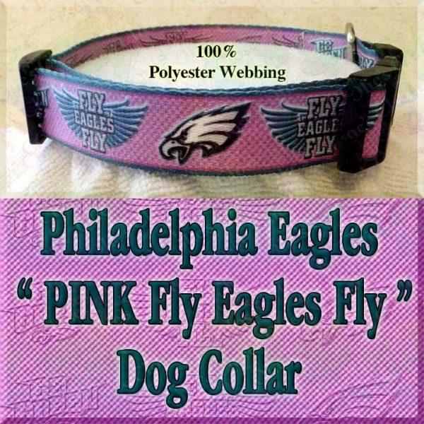 PINK Philadelphia Eagles Fly Eagles Fly Go Green Polyester Webbing Designer Dog Collar Product Image No4