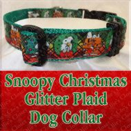 Christmas Snoopy Xmas Glitter Plaid Designer Dog Collar Product Image No1