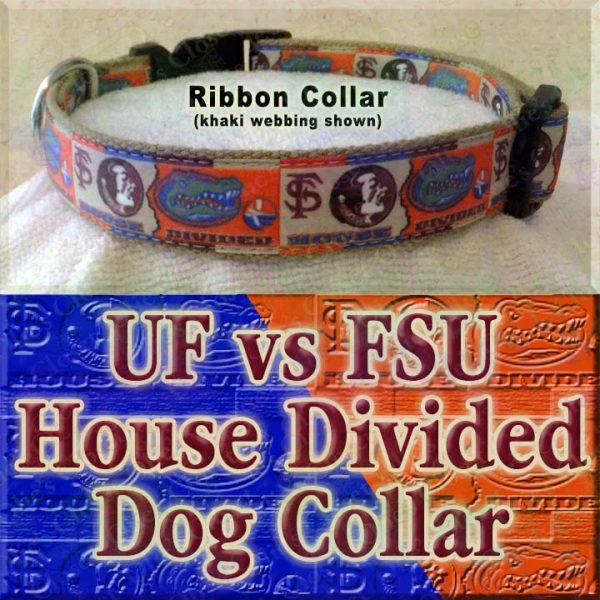 University of Florida Gators vs Florida State University Seminoles House Divided Designer Dog Collar Product Image No6