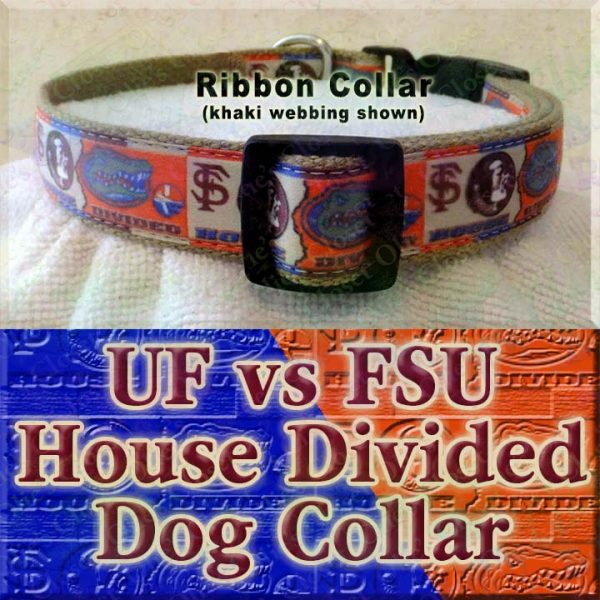 University of Florida Gators vs Florida State University Seminoles House Divided Designer Dog Collar Product Image No7