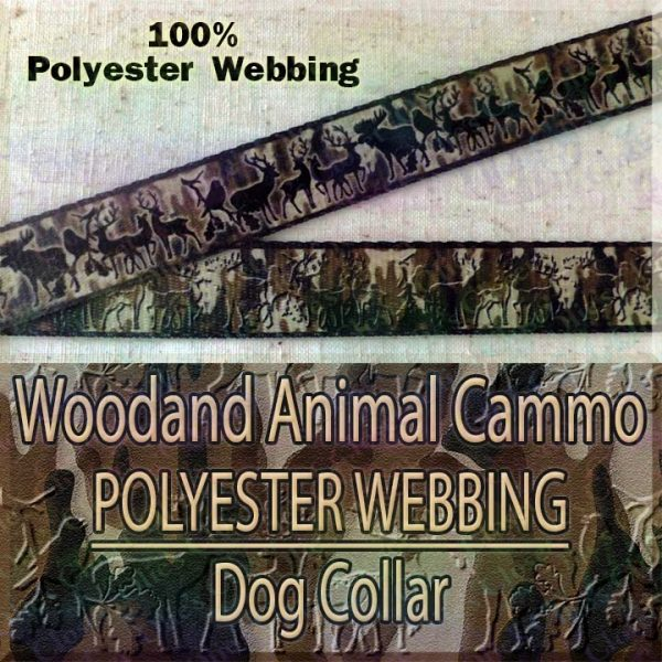 Woodland Animal Moose Deer Hunter Cammo Silhouette Polyester Webbing Designer Dog Collar Product Image No1