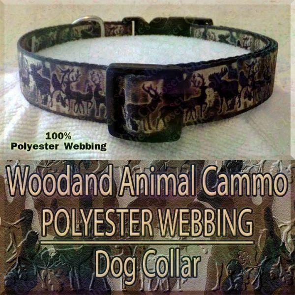 Woodland Animal Moose Deer Hunter Cammo Silhouette Polyester Webbing Designer Dog Collar Product Image No2
