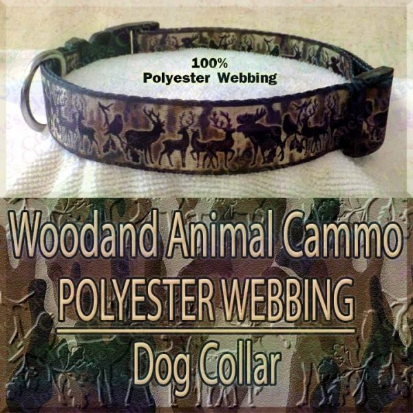 Woodland Animal Moose Deer Hunter Cammo Silhouette Polyester Webbing Designer Dog Collar Product Image No3