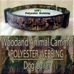 Woodland Animal Moose Deer Hunter Cammo Silhouette Polyester Webbing Designer Dog Collar Product Image No4