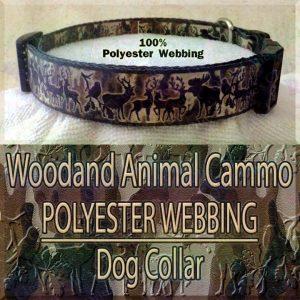 Woodland Animal Moose Deer Hunter Cammo Silhouette Polyester Webbing Designer Dog Collar Product Image No4