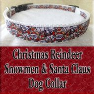 Christmas Reindeer Snowman Santa Claus Collage Holiday Designer Dog Collar Product Image No2