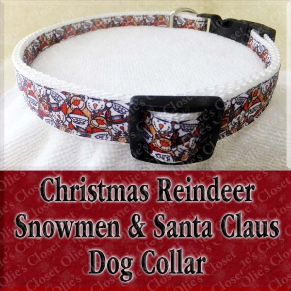 Christmas Reindeer Snowman Santa Claus Collage Holiday Designer Dog Collar Product Image No1