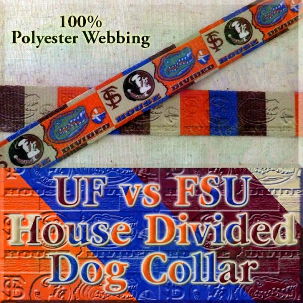 University of Florida Gators vs Florida State University Seminoles House Divided Designer Dog Collar Product Image No2