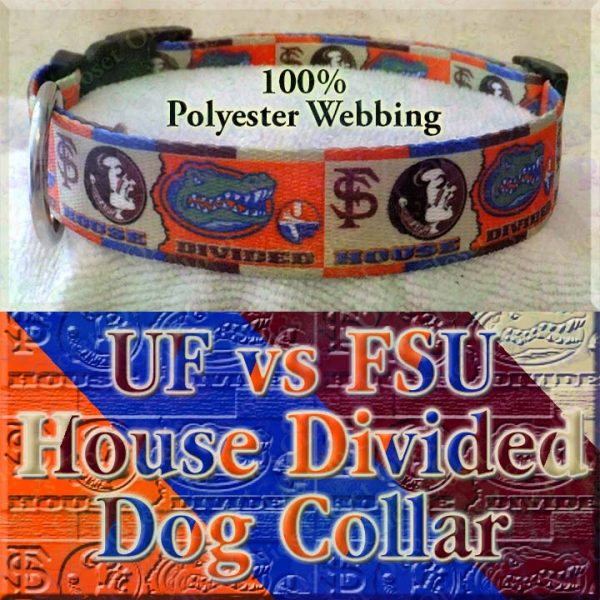 University of Florida Gators vs Florida State University Seminoles House Divided Designer Dog Collar Product Image No3
