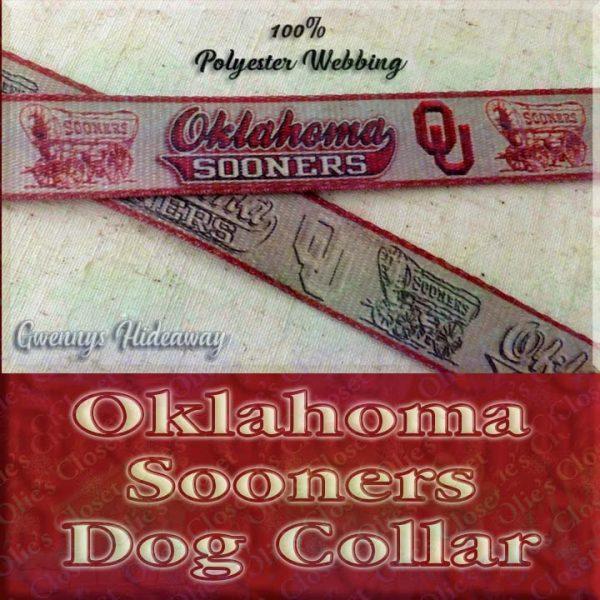 University of Oklahoma Sooners Designer Polyester Webbing Dog Collar Product Image No1
