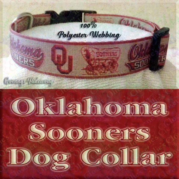 University of Oklahoma Sooners Designer Polyester Webbing Dog Collar Product Image No2