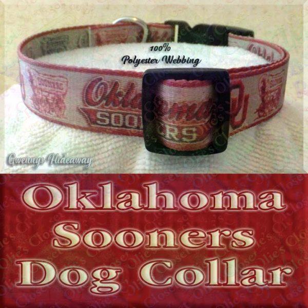 University of Oklahoma Sooners Designer Polyester Webbing Dog Collar Product Image No3