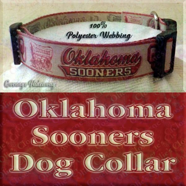 University of Oklahoma Sooners Designer Polyester Webbing Dog Collar Product Image No4