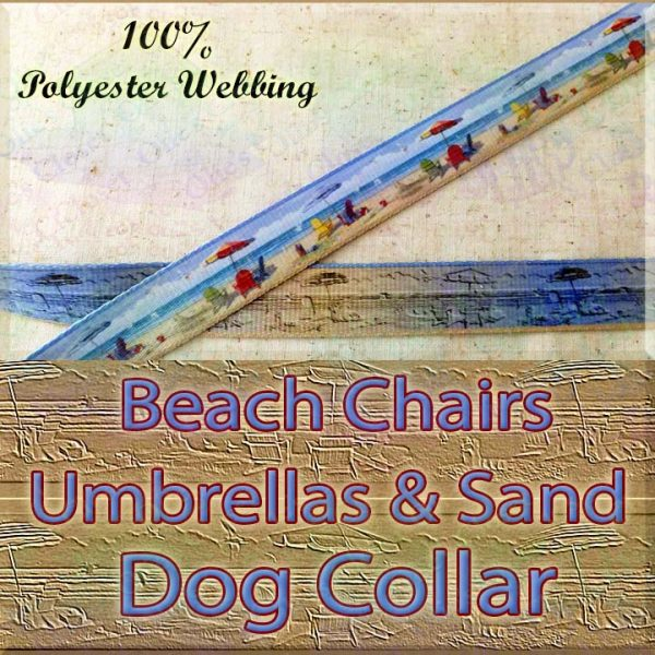 Beach Chairs Umbrellas & Sand Designer Polyester Webbing Dog Collar Product Image No1