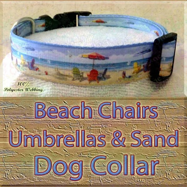 Beach Chairs Umbrellas & Sand Designer Polyester Webbing Dog Collar Product Image No2